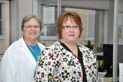 RN Jill Bischop, right, is being recognized as an outstanding nurse by the Grand Theatre's Outstanding Nurse Recognition Program. Linda Bourdeau (left) is one of the nurses who nominated Bischop for the award.