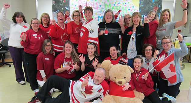 Staff and physicians in the Paediatric Medical Day Unit (PMDU) at LHSC's Children's Hospital are sending their support for Canada's Paralympic Hockey Team who will play for gold this Sunday.