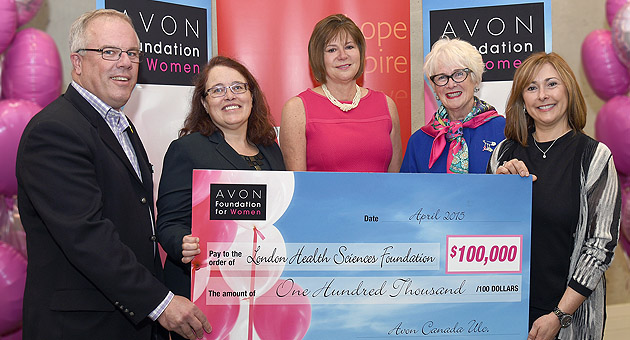 Cheque presentation from Avon to LHSC and LHSF