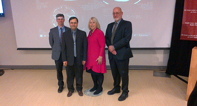 Glen Kearns, Integrated Vice President of Diagnostic Services and Chief Information Officer, LHSC; Dr. Seyed Mirsattari, Neurologist; Deb Matthews, Minister of Health; and Murray Glendining, LHSC's Acting President and CEO