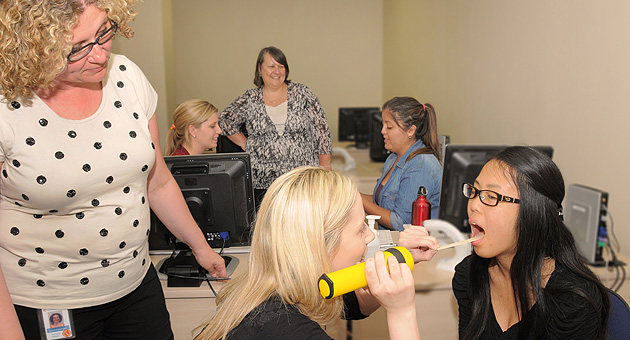 Penney Letsos (left), and Lynda Ryall-Henke (centre back) lead a training session for the stroke screening tool.