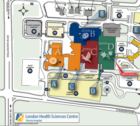 Victoria Hospital London Map Zone E.Location Lhsc