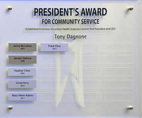 The Community Service perpetual plaque