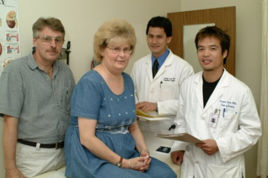 Transplant patients Dan and Barb Smith, Dr. Patrick Luke, LHSC Urologist, Dr. Douglas Quan, LHSC Surgeon.