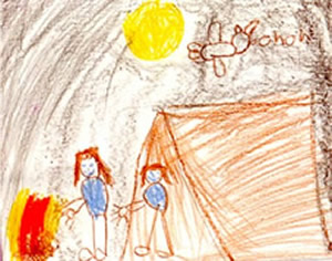 Enjoying life after transplant (Camping), drawn by a pediatric patient