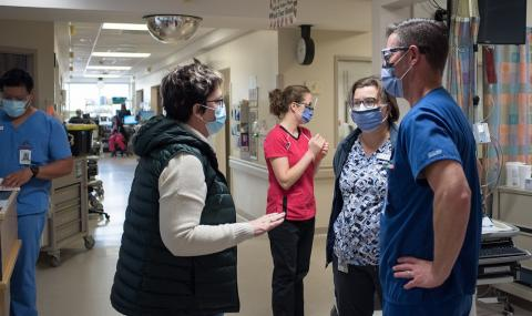 Caption: Carol Young-Ritchie hears from LHSC staff and physicians about their experiences during the third wave of the COVID-19 pandemic